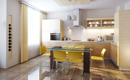 Кухня нейтрального цвета с желтыми акцентами