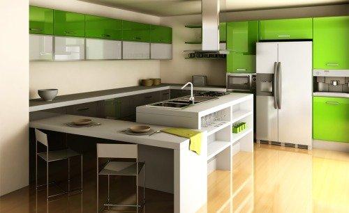 Сочетание зеленого и белого цвета на кухне