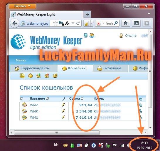 Кошелек WebMoney. Доказательство заработка в Интернете