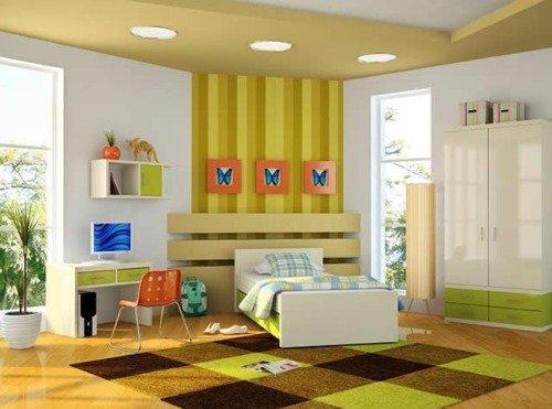 Детская комната в желтых и зеленых тонах
