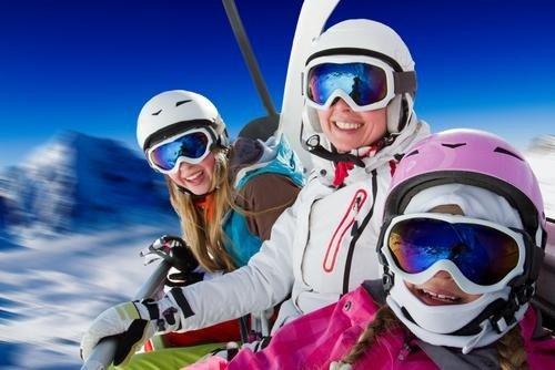 Семья на лыжах