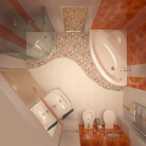 Красивая ванная в персиковых тонах
