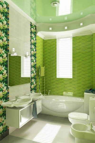 Ярко-зеленая ванная комната