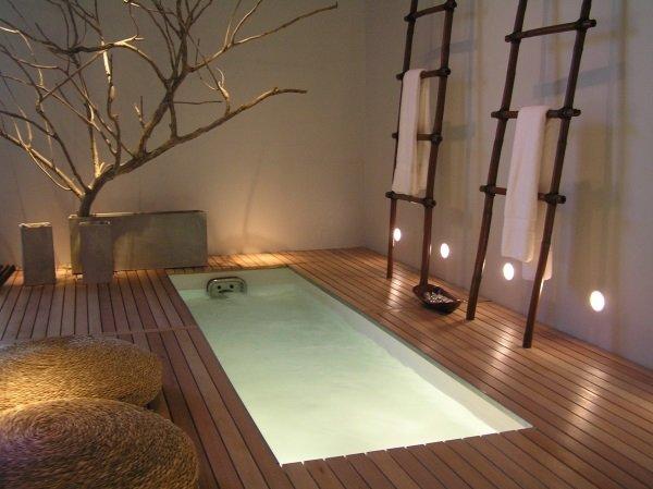Ванная комната, выполненная в японском стиле