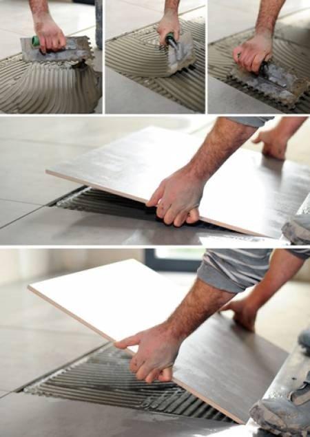 Процесс кладки плитки