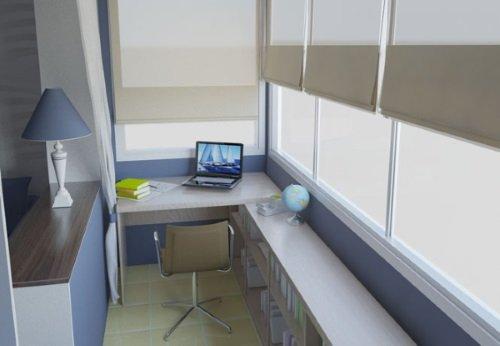 Балкон обустроенный под кабинет
